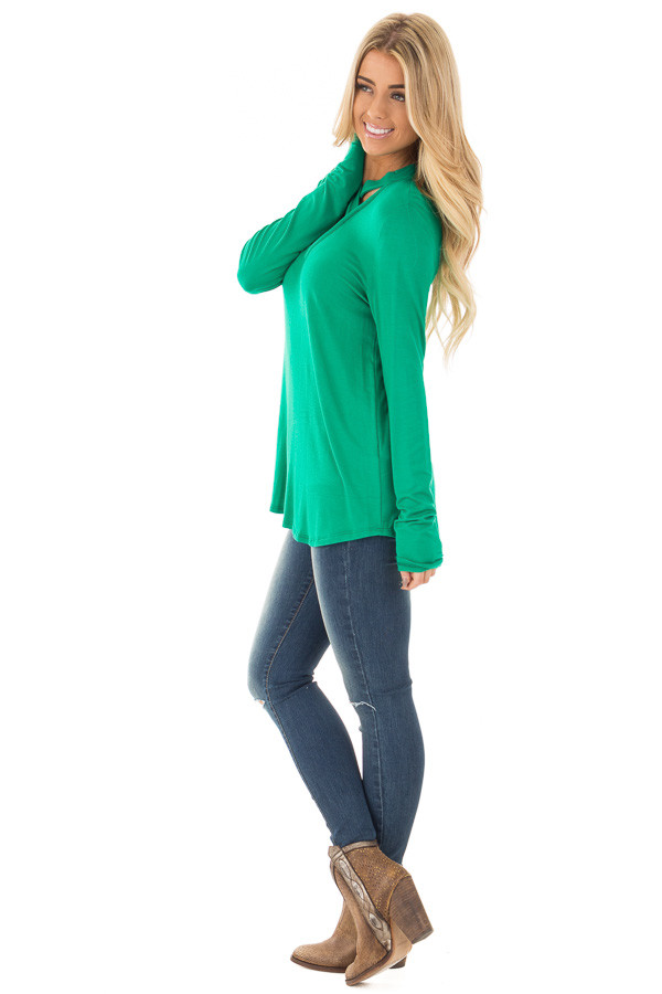 Emerald Green Key Hole Back with Criss Cross V Neck Top side full body