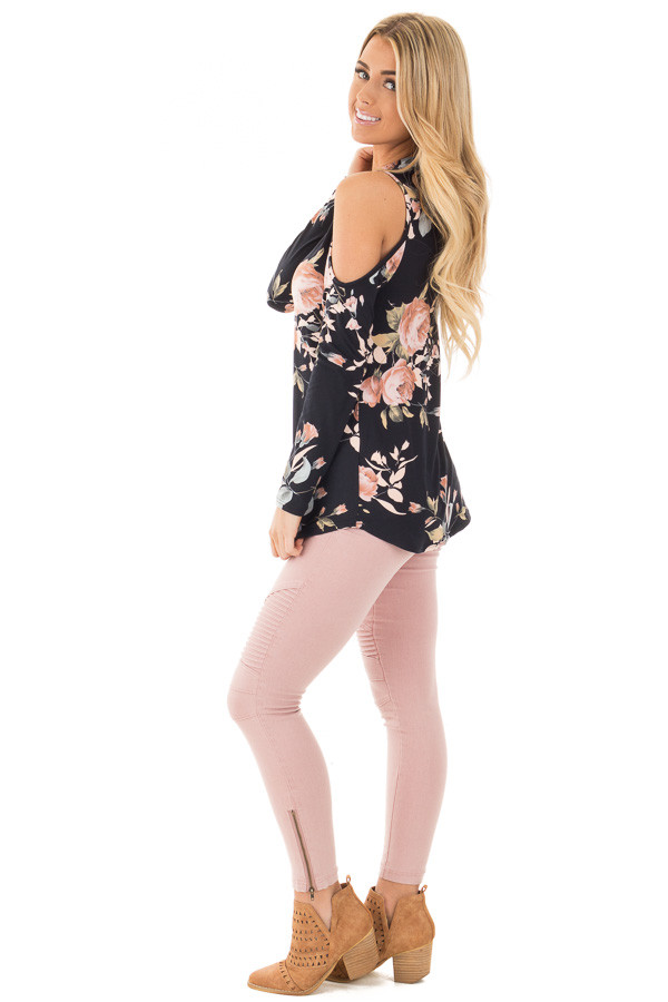 Black and Blush Floral Print Key Hole Cold Shoulder Top side full body