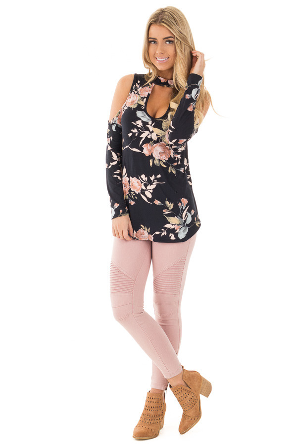 Black and Blush Floral Print Key Hole Cold Shoulder Top front full body