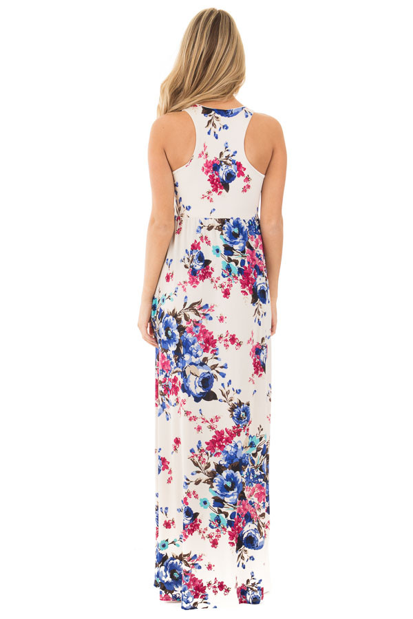 Ivory Floral Print Racerback Maxi Dress with Side Pockets back full body