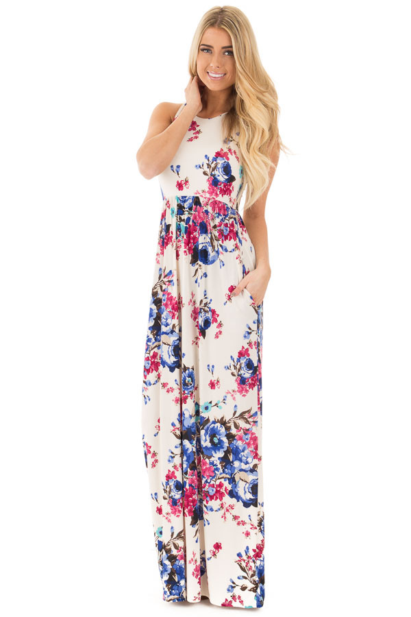 Ivory Floral Print Racerback Maxi Dress with Side Pockets front full body