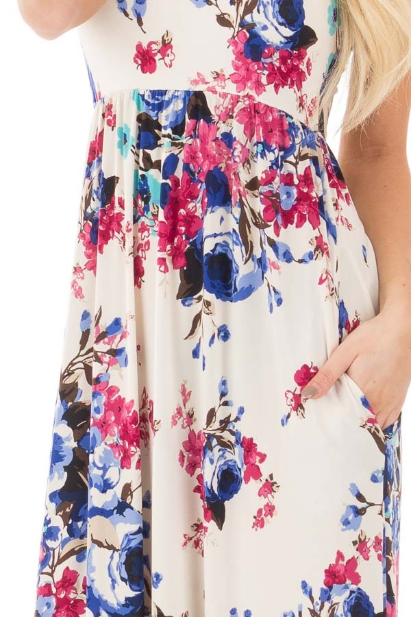 Ivory Floral Print Racerback Maxi Dress with Side Pockets detail