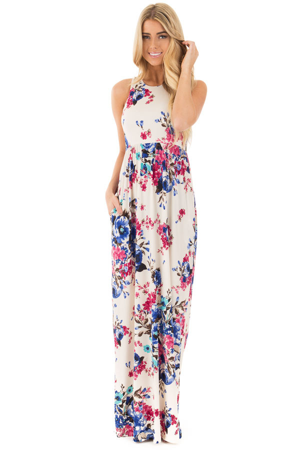 Ivory Floral Print Racerback Maxi Dress with Side Pockets - Lime ...