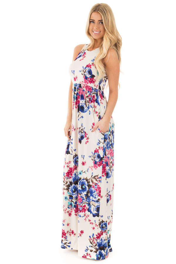 Ivory Floral Print Racerback Maxi Dress with Side Pockets front side full body