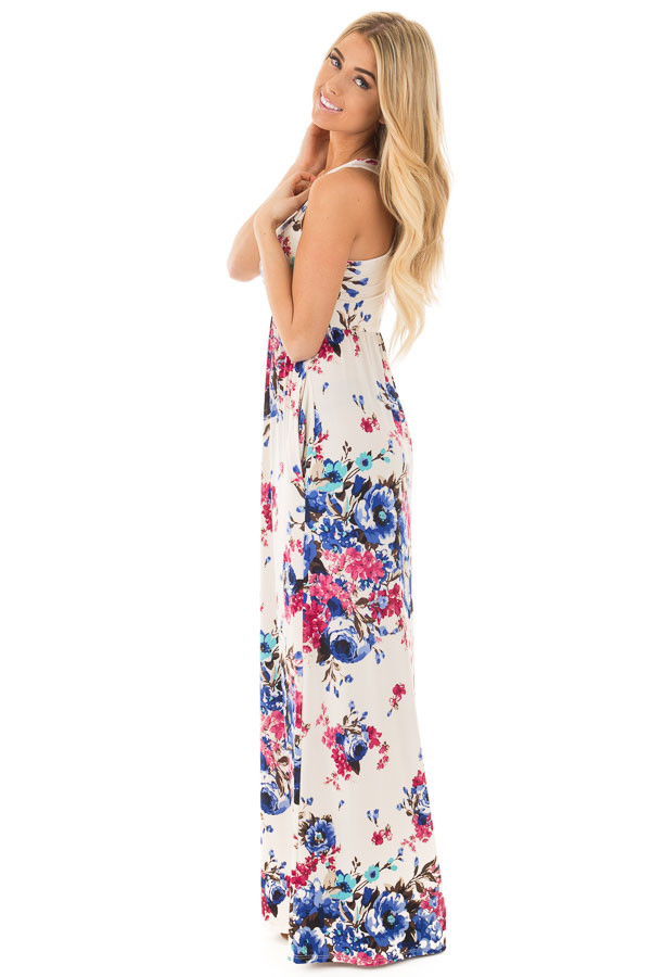 Ivory Floral Print Racerback Maxi Dress with Side Pockets side full body