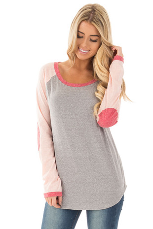 Grey Baseball Long Sleeve Tee with Rose Elbow Patches front close up