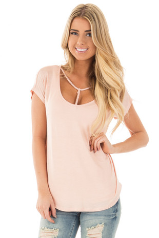 Light Peach Cap Sleeve Tee with Braided T Strap Neckline front close up