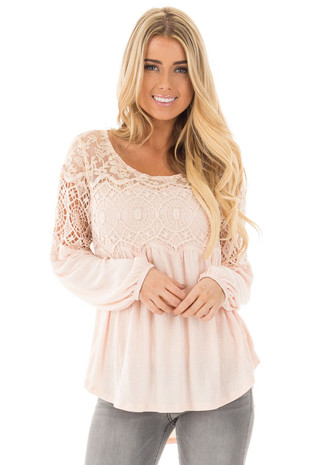 Light Pink High-Low Crochet Lace Detail Bell Sleeve Top front close up