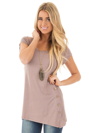 Coco Cap Sleeve Button Trim Top with Asymmetrical Hem front close up