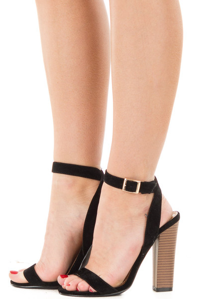 Black Faux Suede Open Toe Sandal Heel with Anke Strap side view