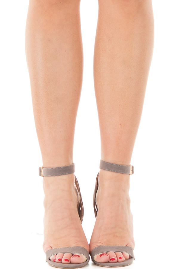 Grey Faux Suede Open Toe Sandal Heel with Anke Strap front view