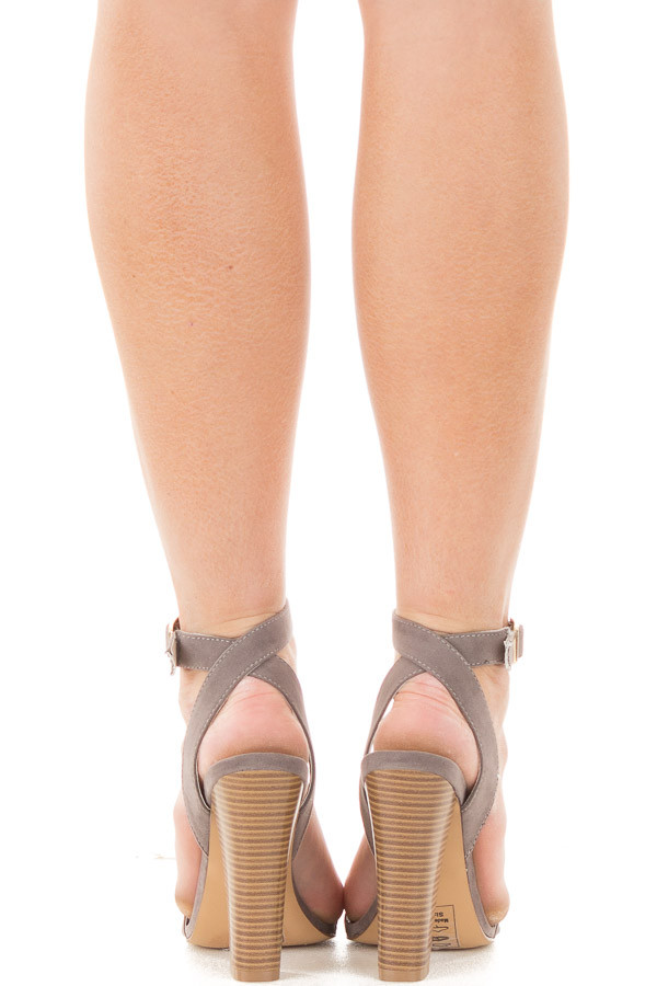 Grey Faux Suede Open Toe Sandal Heel with Anke Strap back view
