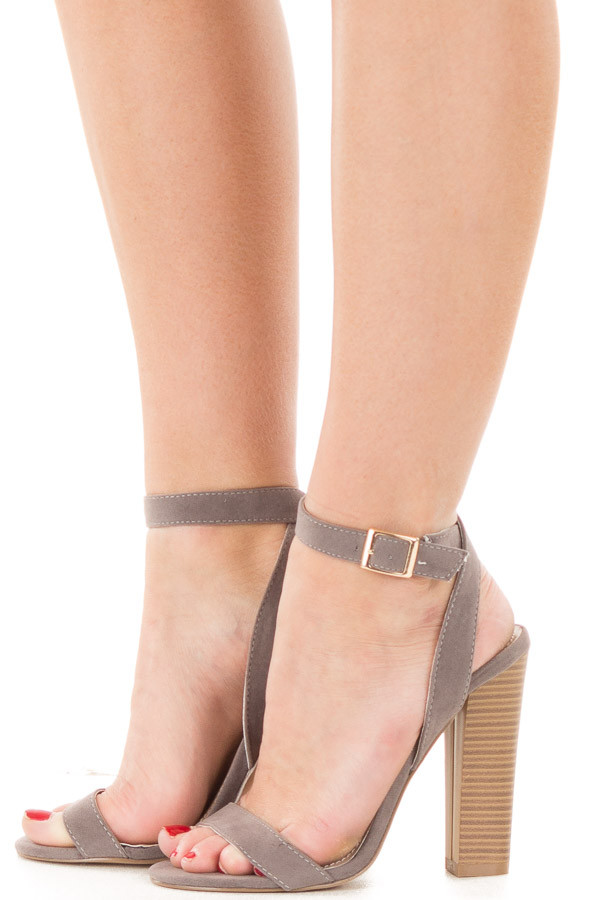 Grey Faux Suede Open Toe Sandal Heel with Anke Strap side view
