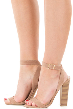 Taupe Faux Suede Open Toe Sandal Heel with Anke Strap side view