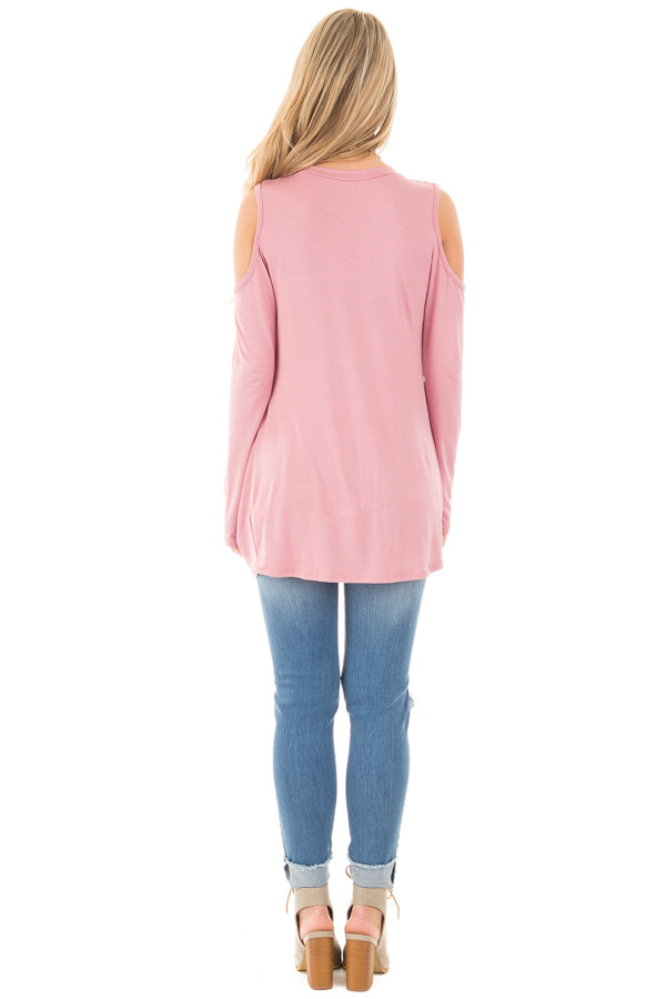 Mauve Long Sleeve Cold Shoulder with Twist Detail Top back full body