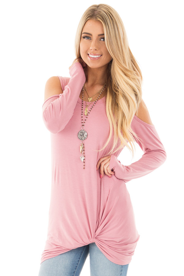 Mauve Long Sleeve Cold Shoulder with Twist Detail Top front close up