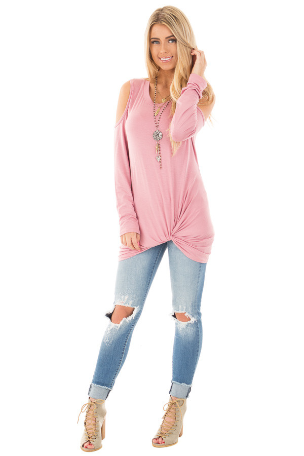 Mauve Long Sleeve Cold Shoulder with Twist Detail Top front full body