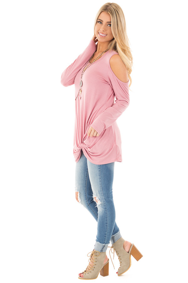 Mauve Long Sleeve Cold Shoulder with Twist Detail Top side full body