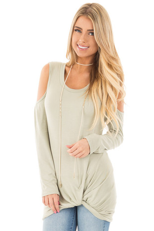 Sage Long Sleeve Cold Shoulder with Twist Detail Top front close up