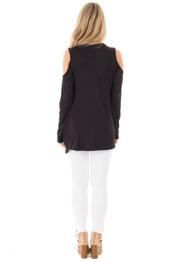 Black Long Sleeve Cold Shoulder with Twist Detail Top back full body