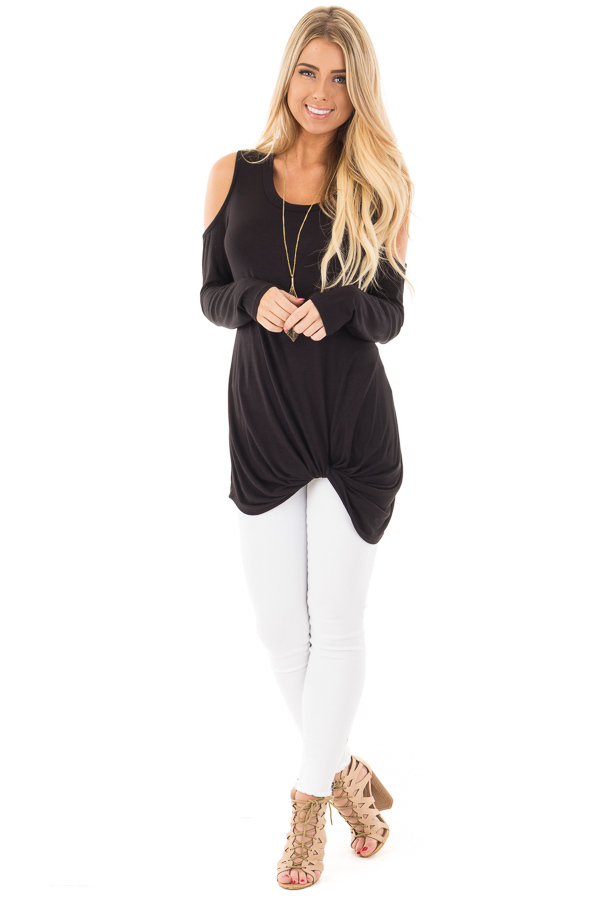 Black Long Sleeve Cold Shoulder with Twist Detail Top front full body