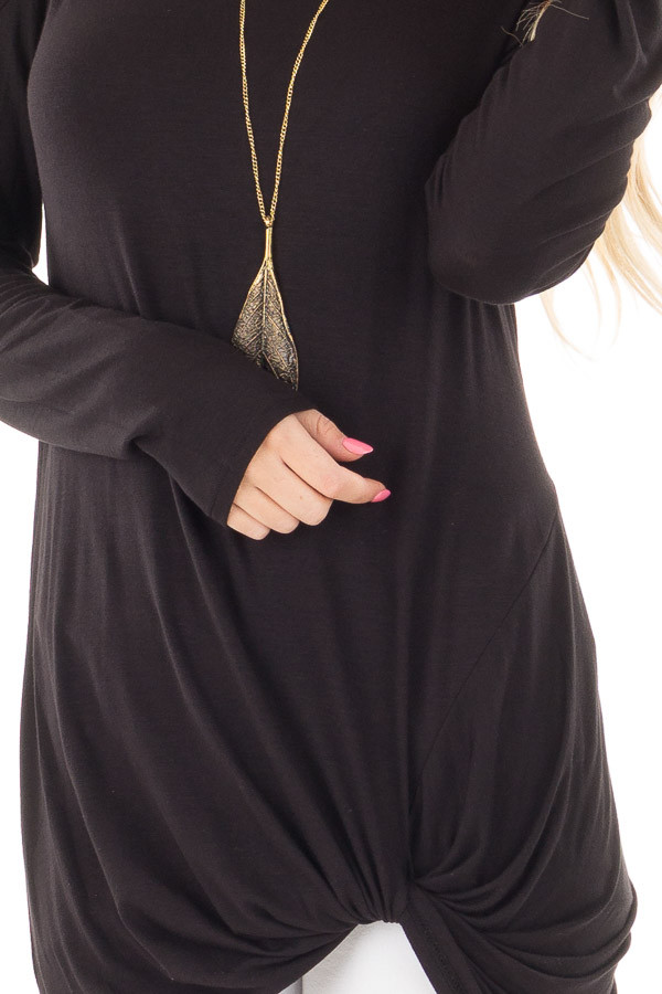 Black Long Sleeve Cold Shoulder with Twist Detail Top detail