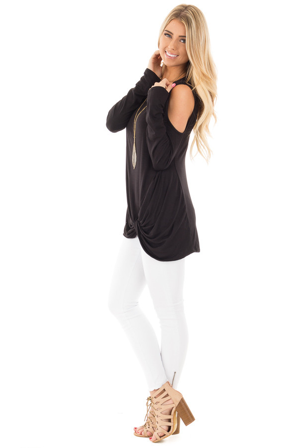 Black Long Sleeve Cold Shoulder with Twist Detail Top side full body