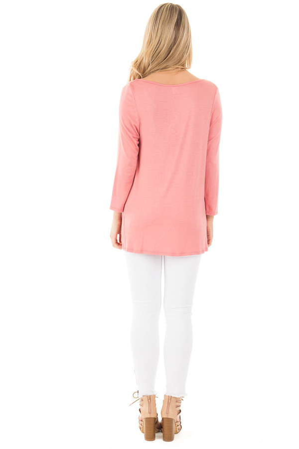 Coral Wrap 3/4 Sleeve Top with V Neck Criss Cross back full body