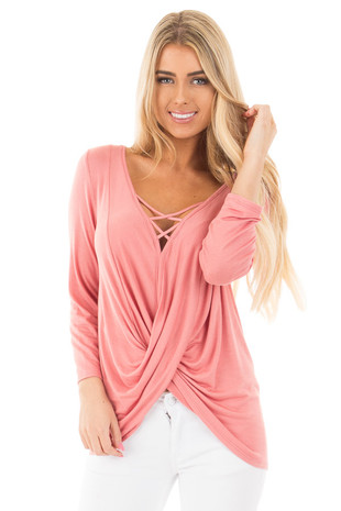 Coral Wrap 3/4 Sleeve Top with V Neck Criss Cross front close up