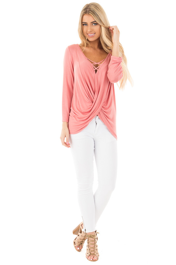 Coral Wrap 3/4 Sleeve Top with V Neck Criss Cross front full body
