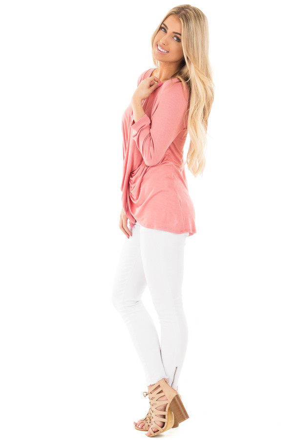 Coral Wrap 3/4 Sleeve Top with V Neck Criss Cross side full body