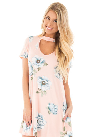 Blush Floral Mock Neck Triangle Cut Front Dress with Pockets front close up