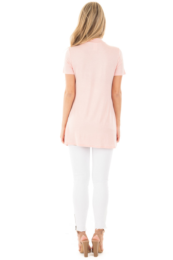 Blush Cut Out V Neck Short Sleeve Top back full body