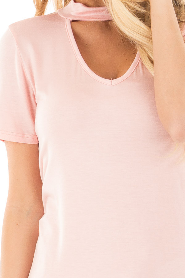 Blush Cut Out V Neck Short Sleeve Top detail