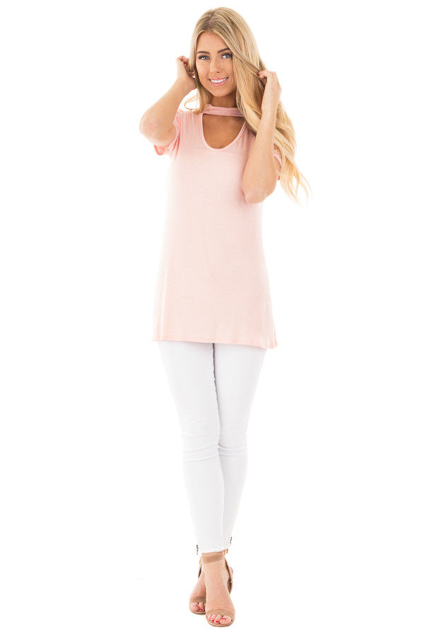 Blush Cut Out V Neck Short Sleeve Top front full body