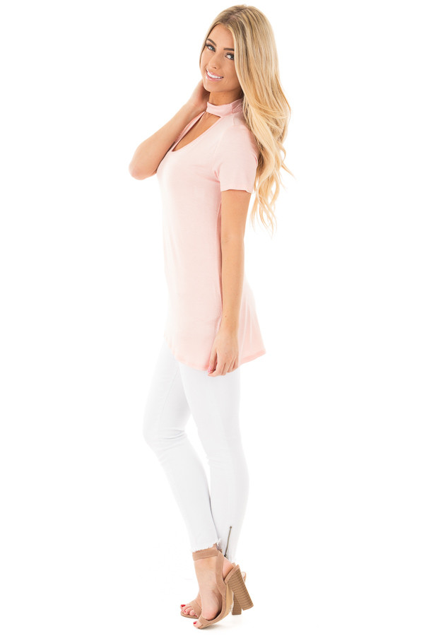 Blush Cut Out V Neck Short Sleeve Top side full body
