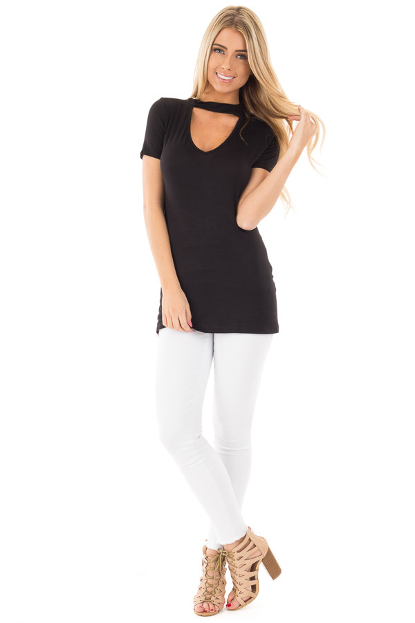 Black Cut Out V Neck Short Sleeve Top front full body