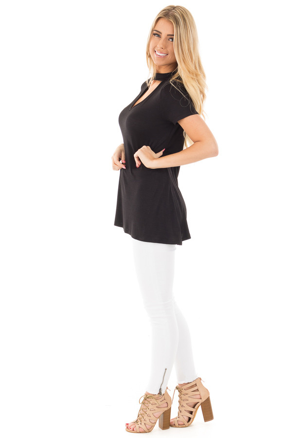 Black Cut Out V Neck Short Sleeve Top side full body