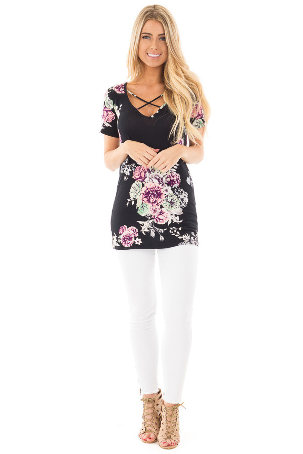 Black Floral Cap Sleeve Criss Cross Top front full body