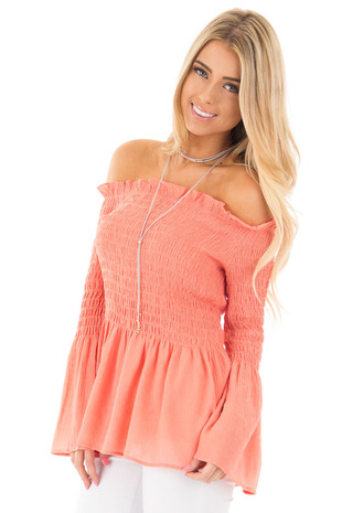 Peach Off the Shoulder Ruched Blouse with Flare Sleeves front close up