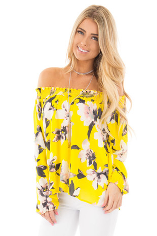 Sunflower Floral Off Shoulder Chiffon Blouse front close up