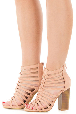 Rose Faux Suede Strappy Heeled Sandal side view
