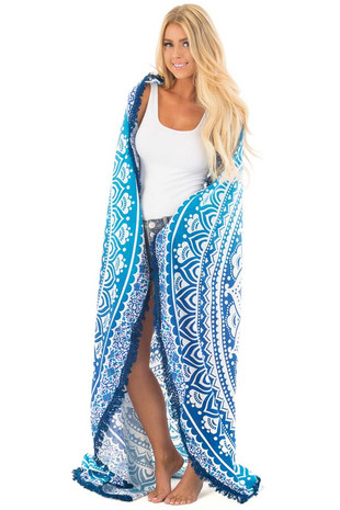 Blue Ombre Mandala Beach Throw Tapestry with Tassel Edges front full body