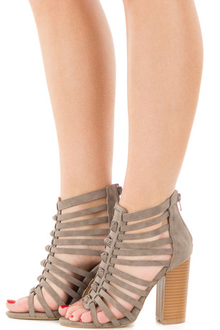 Grey Faux Suede Strappy Heeled Sandal side view