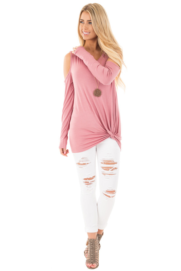 Mauve Cold Shoulder Top with Twist Bottom Detail front full body