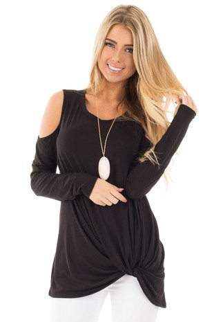 Black Cold Shoulder Top with Twist Bottom Detail front close up