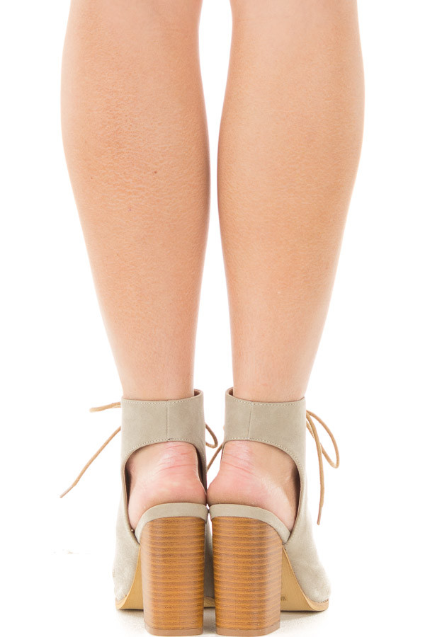 Beige Faux Suede Lace Up Heel with Open Toe and Heel Detail back view