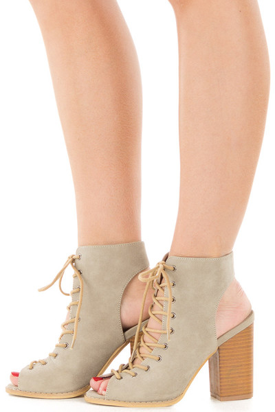 Beige Faux Suede Lace Up Heel with Open Toe and Heel Detail side view