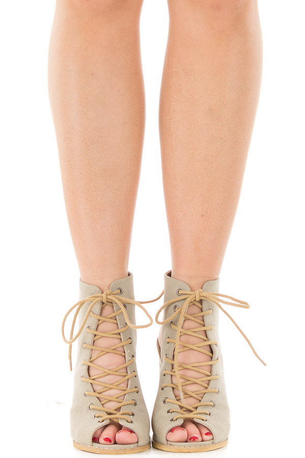 Beige Faux Suede Lace Up Heel with Open Toe and Heel Detail front view