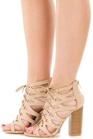 Rose Faux Leather Strappy Lace Up Heel with Cut Out Detail side view